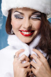Smiling beautiful winter woman Stock Photos