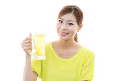 Smiling beautiful woman with beer Royalty Free Stock Photo