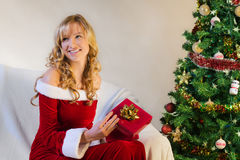 Smiling beautiful woman with christmas gift Stock Images