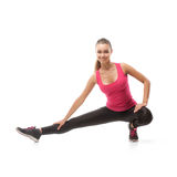 Smiling beautiful woman doing exercise Stock Image