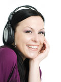 Smiling beautiful woman with headphones Royalty Free Stock Photography