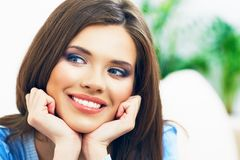 Smiling beautiful woman home portrait Stock Image