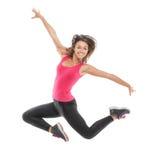 Smiling beautiful woman jumping Stock Photos
