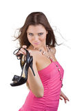 Smiling beautiful woman just bought new shoes Stock Photos