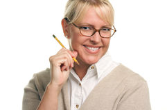 Smiling Beautiful Woman with Pencil Royalty Free Stock Photos