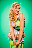 Smiling beautiful woman. Pin up and retro style. Stock Photography
