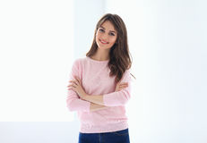 Smiling Beautiful Woman Portrait With Crossed Arms Royalty Free Stock Photo
