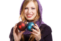 Smiling beautiful woman in pullover and purple scarf with bright Royalty Free Stock Images