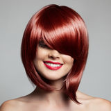 Smiling Beautiful Woman With Red Short Hair. Haircut. Hairstyle. Fringe royalty free stock photo