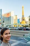 Smiling beautiful woman sightseeing in Las Vegas Stock Image