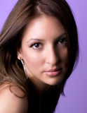 Smiling Beautiful Woman With White Earrings Royalty Free Stock Photography