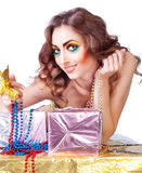 Smiling beautiful womanl with bright make-up Royalty Free Stock Photography