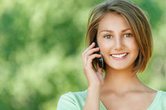 Smiling beautiful young woman Stock Photos