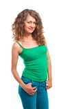 Smiling beautiful young woman in green top isolated Royalty Free Stock Photography