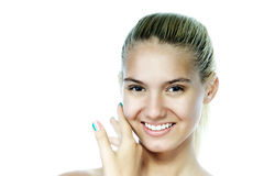 Smiling beautiful young woman with manicure Stock Photos