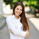 Smiling beautiful young  woman outdoor Royalty Free Stock Image