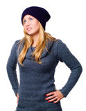 Smiling beautiful young woman in winter clothes Stock Photos