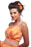 Smiling beauty woman with nice makeup and flowers in her hair Royalty Free Stock Images