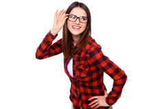 Smiling beauty. Smiling young woman with glasses over white background Royalty Free Stock Images