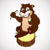 Smiling beaver with a toothbrush. Cartoon characters smiling beaver holding in paws a toothbrush and toothpaste Stock Photo
