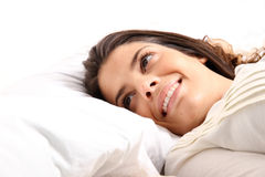 Smiling in bed Stock Photos