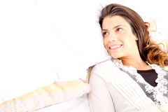 Smiling in bed Royalty Free Stock Photos