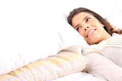 Smiling in bed Royalty Free Stock Photography
