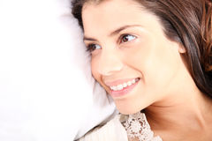 Smiling in bed Royalty Free Stock Photo
