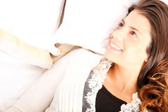 Smiling in bed stock photography