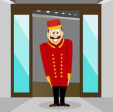 Smiling bellhop with mustache Stock Images