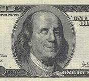 Smiling Ben Franklin. With Wink. USD Stock Photo