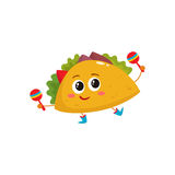 Smiling big eyed burrito dancing and playing Mexican maracas. Smiling big eyed taco dancing and playing Mexican maracas, cartoon vector illustration isolated on Stock Images