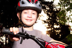 Smiling Biker at Dusk Stock Image