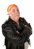 Smiling biker gang member. With leather jacket Stock Photo