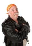 Smiling biker gang member Stock Photo