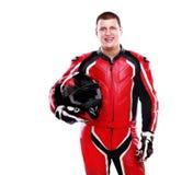 Smiling  biker in red Stock Image