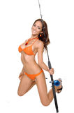 Smiling Bikini Fisher woman Stock Photos