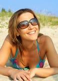 Smiling bikini girl stock photography
