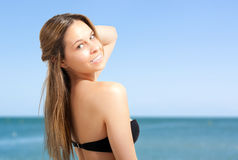 Smiling bikini woman at the beach Royalty Free Stock Photography