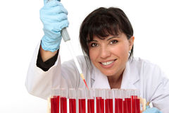Smiling biologist scientist. Female biologist, hematologist, holding a manual pipette with sample from test tubes Royalty Free Stock Photos