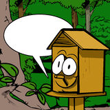 Smiling birdhouse with speech bubble Stock Images