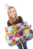 A smiling birthday girl Stock Image