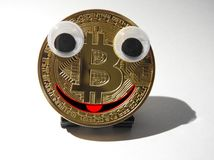 Smiling Bitcoin Royalty Free Stock Photography