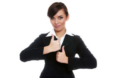 Smiling biznesswoman showing ok Royalty Free Stock Image