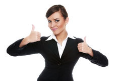 Smiling biznesswoman showing ok Royalty Free Stock Photography