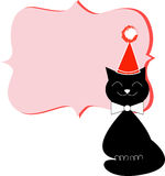Smiling black cat Christmas flyer/poster template Royalty Free Stock Photo