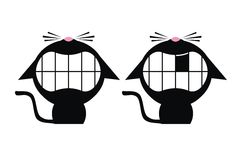 Smiling black cats. Two teeth smiling cats with noses up Stock Images