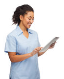 Smiling black doctor or nurse with tablet pc. Healthcare, technology and medicine concept - smiling female african american doctor or nurse tablet pc computer Stock Photos