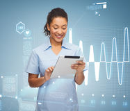Smiling black doctor or nurse with tablet pc. Healthcare, technology and medicine concept - smiling female african american doctor or nurse with tablet pc Stock Photo