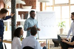 Smiling black leader or coach giving presentation at business meeting. Smiling black leader giving presentation at business seminar, friendly african american stock photos